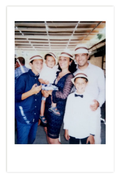 blue and white united family values joy polaroid photo