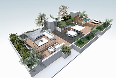 axonometry garden roof terrace