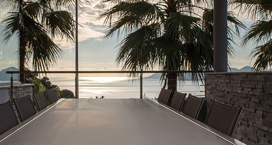 panoramic sea view on contemporary terrace furniture sunset monaco